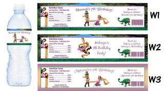 Tangled Princess Rapunzel Printed Water Bottle Labels Birthday Party Favors