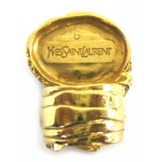 Yves Saint Laurent 'Arty' Turquoise Gold Plated Glass Stone Ring New