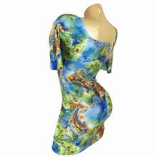 Sexy Women's Clubwear Mini Dress 3 4 Sleeve Lycra Peacock Feathers Print M263