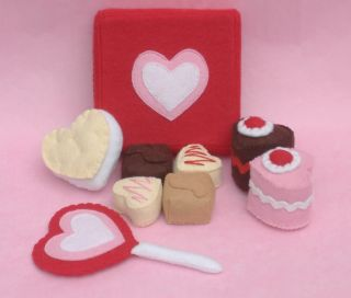 Pattern Valentine Day Box Chocolate Cake Felt Food DIY