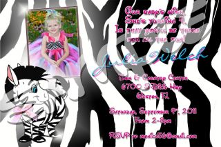 Zebra Custom 21 Birthday Photo Invitation with Envelopes Many Designs Inside New
