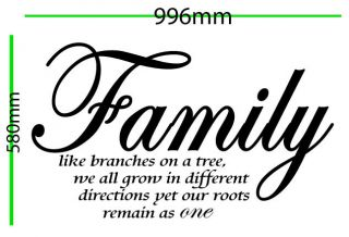 Vinyl Removable Sticker Decal Quotes Family