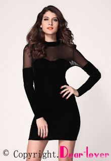 Women's Dress Sexy Velvet Dress Mesh Inserts Long Sleeves Ladies Cocktail Dress