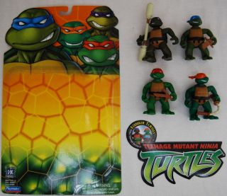 Playmates TMNT 2003 Toddler Turtles Leo Mike Don Raph Loose Complete