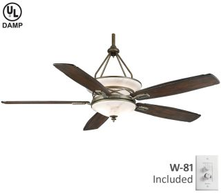 "Casablanca 68"" Aged Bronze Outdoor Damp Rated 4 Speed Ceiling Fan HR C18G500F"