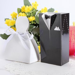 50 100 Pcs Bride Groom Tuxedo Ribbon Dress Gown Wedding Party Candy Box New