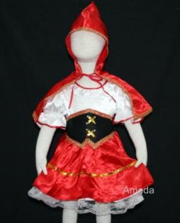 Halloween Xmas Party Girls Little Red Riding Hood Fancy Dress Up Costume 1 2Y
