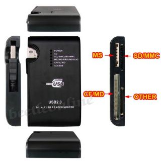 SD SDHC MMC MS MD USB Flash Memory Card Reader Writer