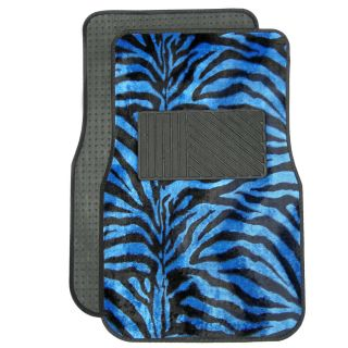 21pc Blue Zebra Print Car Seat Covers Full Set Floor Mats Wheel Belt Pad Head