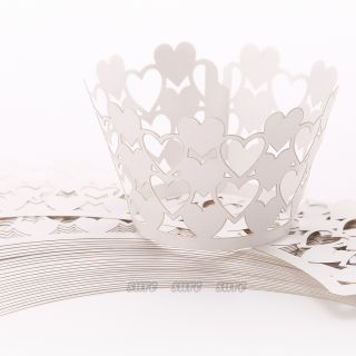 24 Love Heart Cupcake Wrapper Wrap Case Wedding Decoration
