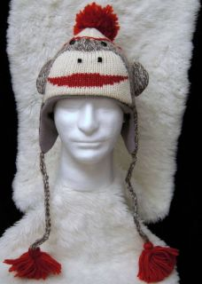 Cute Sock Monkey Hat Gray Adult Mens Womens Knit Halloween Costume Cap New Delux
