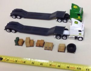 2 Ertl Tractor John Deere Mack Semi Truck Flatbed Trailer Equipment Hauler