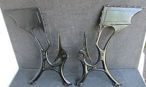 Antique Cast Iron Folding Seat School Desk Table Legs Machine Age