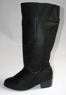 Vtg Womens Wide Calf Black Leather Riding Knee High Boots Shoes Flat Pirate 7 M