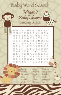 24 Personalized Cocalo Nali Jungle Baby Shower Word Search Game Cards Lion Zebra