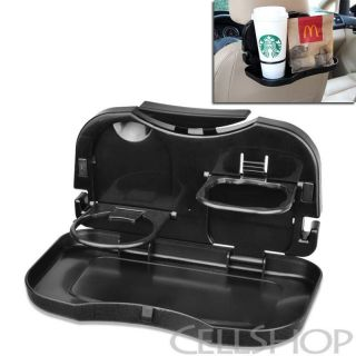 Black Foldable Backseat Travel Food Drink Cargo Tray Universal for Car SUV Truck