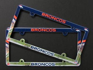 Set of 2 Denver Broncos License Plate Frames NFL Made USA Plastic Full Color