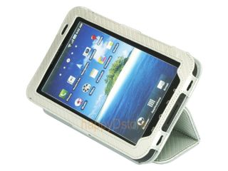 "Leather Magnetic Closure Case Stand for Samsung Galaxy Tab 7"" P1000 Tablet White"