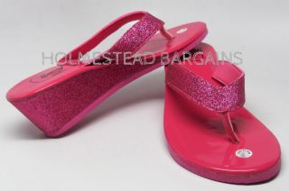 Metallic Pink Eva Wedge Glitter Flip Flops Thongs Sandals Size 7M