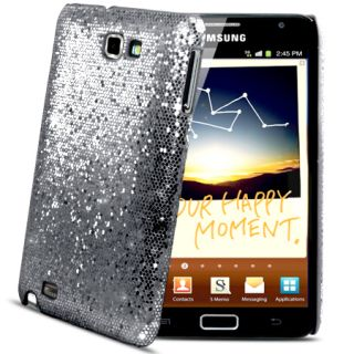 Grey Sparkle Glitter Hard Case Cover Samsung Galaxy Note i9220 Film