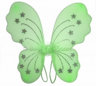 Butterfly Wings Costume Green Star Girls Dress Up Halloween Outfit Fairy Party