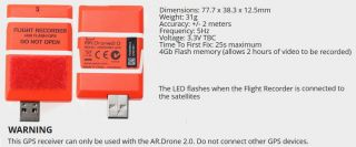 Parrot AR Drone 2 0 USB 4GB Memory Flight Recorder Black Box GPS 3D Geolocation