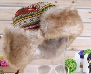 Winter Hat Earflap Russian Trooper Trapper Faux Fur Ski Beanie Hat Cap Women