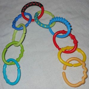 Set of 10 Baby Infant Linking Rings Teether Toy Hooks Kids II Carseat Stroller