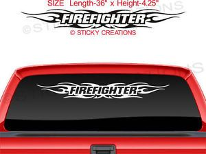 116 Firefighter Tribal Flame Decal Sticker Windshield Design Window Graphic Car