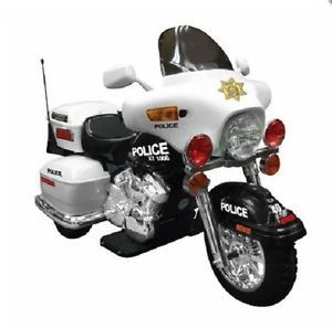 Motorcycle Police Patrol Electronic Ride on Power Wheels Kids Cop Harley Toy