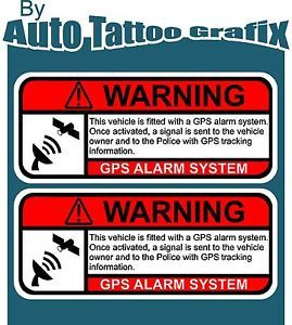 GPS Tracking Warning x 2 Decal Sticker Car Truck Safety Anti Theft Drift Hot Rod