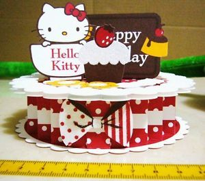 Hello Kitty Pop Up 3D Birthday Greeting Card Red Cake 9583402