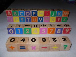 Lot of 34 Wood Wooden Alphabet Building Blocks Letters Numbers Toy Kids Child