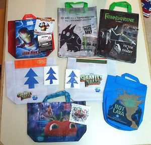 13 PC Subway Kids Meal Lunch Bags Frankenweenie Glow Sticks Iron Man 3 Toys Lot