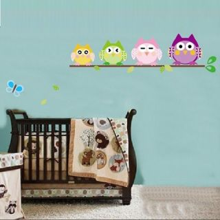 Cute Owl Butterfly Tree Home Wall Removable Decal Kid Room Wall Sticker Decor