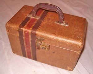 Vintage Hard Side Striped Train Makeup Case Luggage Fabric Covered Wood