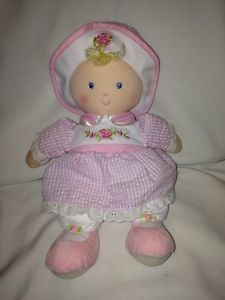 Kids Preferred Pink White Gingham Dress Baby Doll Plush Soft Toy 12""