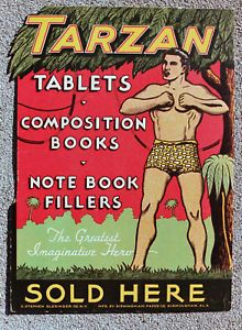 Tarzan Writing Tablets Die Cut Counter Display Sign 1935 VF NM Condition