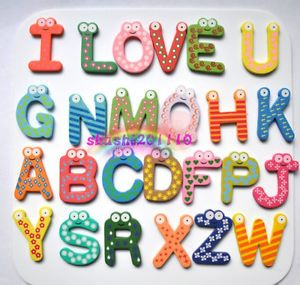 Cute Eyes Wooden Big Magnetic Numbers Alphabet Letters Kids Fridge Magnets Toy