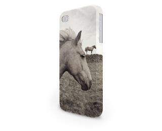 Horses in A Field Sepia Hard Cover Case for iPhone Android 65 Other Phones
