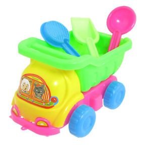 Kids Colorful Plastic Car Sand Mold Beach Dump Truck Toy Set