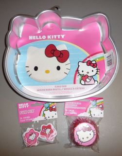 Lot Wilton Hello Kitty Birthday Cake Pan Cupcake Liners PIX Party Supplies