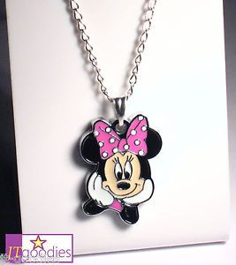 Minnie Mouse Necklace Pendant Jewelry Gift for Girl Kid Disney Princess Toy New
