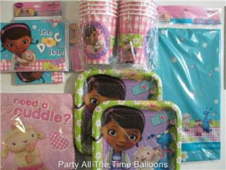 Doc McStuffins Disney Birthday Party Kit for 16 w Invites Candles Balloons