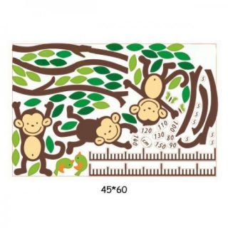 Hot Monkey Forest Removable Vinyl Wall Decal Stickers Kids Height Chart Measure