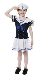 Kids Childrens Sailor Girl Fancy Dress Costume Outfit Medium 7 9 Years