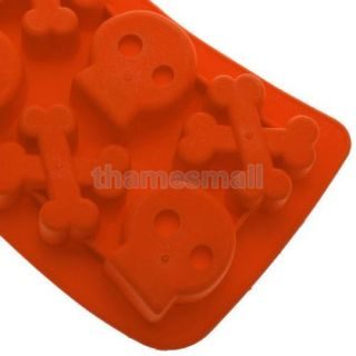 Cool Punk Style Skull Crossbone Ice Cube Mold Maker Tray for Party Fun Food DIY