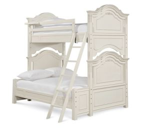 Youth Distressed Lace White Twin Over Full Bunk Bed
