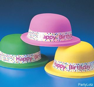 1 Pk 12 DERBY STYLE PARTY HATS KIDS CAPS HAPPY BIRTHDAY NEON COLORS