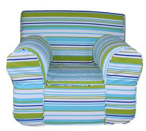 Blue Green Summer Stripe Cover for Pottery Barn Kids Anywhere Chair Regular Size